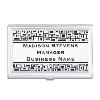 Retro Black White Square Pattern Business Card Cas Business Card Holder