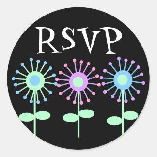 Retro Bloom RSVP Round Sticker