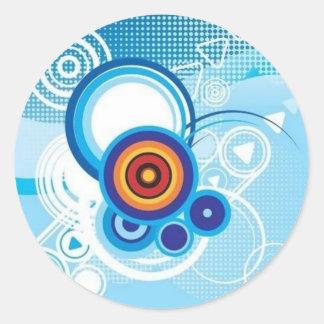 retro blue effect round sticker