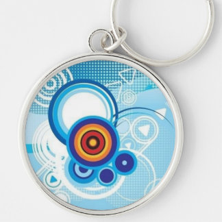 retro blue effect Silver-Colored round key ring