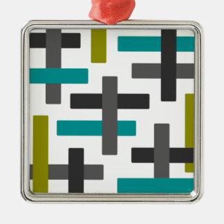 Retro Blue, Green, Grey Abstract Christmas Ornament