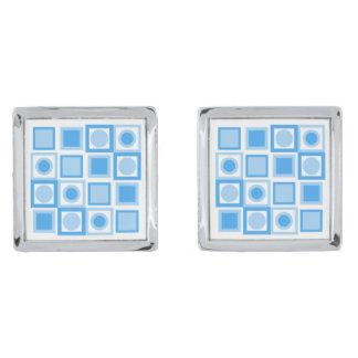 Retro Blue Pattern Designer Cufflinks Silver Finish Cufflinks