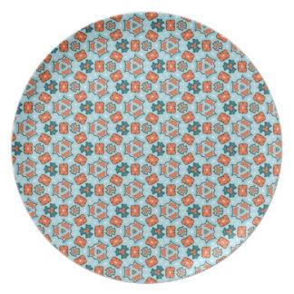 Retro Blue Teal Orange Geometric Repeat Pattern Party Plate