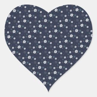 Retro blue white aqua flower heart sticker