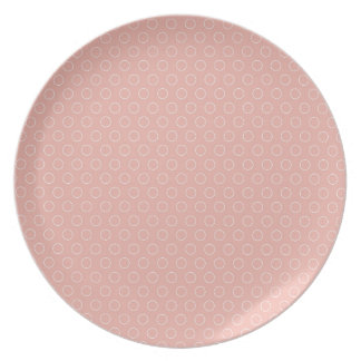 Retro Blush Pink Circles Pattern Dinner Plates