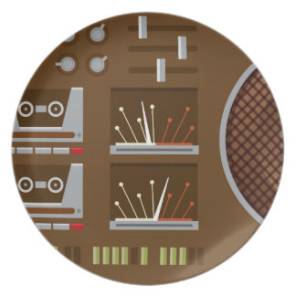 Retro Boombox plate - Brown