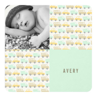 Retro Boys Toys Baby Photo Birth Announcement