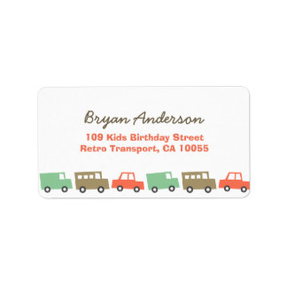Retro Boy's Toys Fun Transport Birthday Address La Address Label