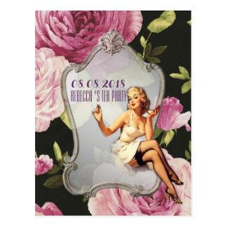 retro Bridal Shower Tea Party save the date Postcard