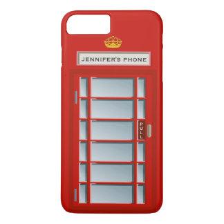 Retro British Telephone Booth Red Pattern Monogram iPhone 8 Plus/7 Plus Case