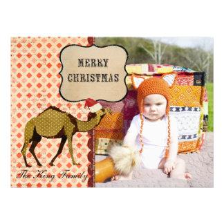 Retro Bronze Camel Christmas Photo Card