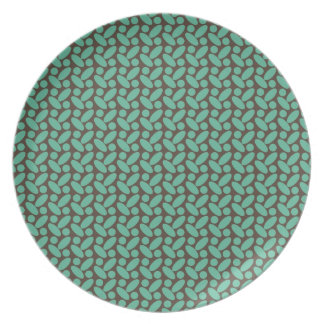 Retro Brown and Teal Pattern Party Plate