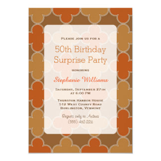 Retro Brown Orange Pattern Surprise Birthday Party 13 Cm X 18 Cm Invitation Card