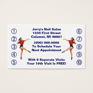 Retro Business Punch Cards Ladies Happy Lady