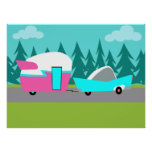 Retro Camper / Trailer and Car Poster