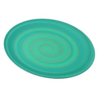 Retro Candy Swirl in Kiwi Teal Plates