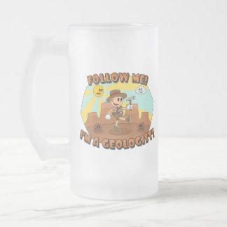 Retro Cartoon- Follow Me! I'm a Geologist! Frosted Glass Mug