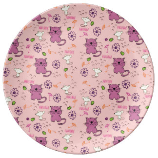 Retro Cat Feline Pattern Porcelain Plates