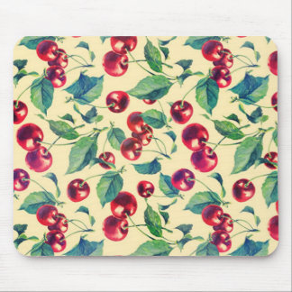 Retro cherries pattern on yellow base. mouse pad