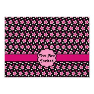 Retro Cherry Blossoms Sakura Pattern Pink Black 5x7 Paper Invitation Card