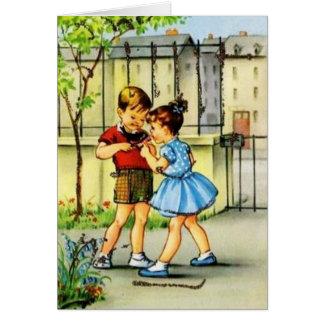 Retro Children And Bird Note Card
