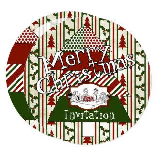 Retro Christmas 5.25 x 5.25 Invitation Circle