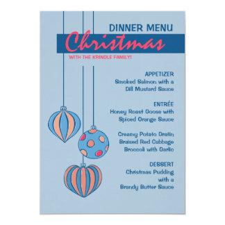 Retro Christmas Balls blue Dinner Menu 5x7 Paper Invitation Card