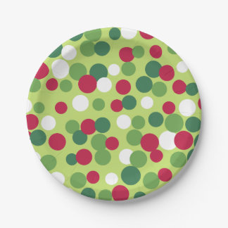 Retro Christmas Dots Paper Plates 7 Inch Paper Plate
