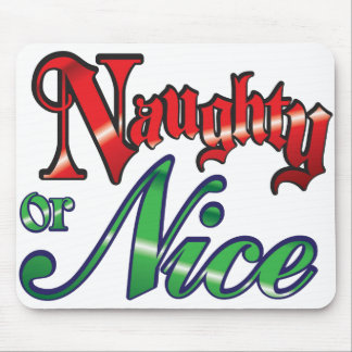 Retro Christmas, Naughty or Nice Red Green Letters Mouse Pad