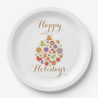 Retro Christmas Ornament Paper Plate 9 Inch Paper Plate