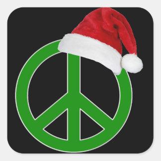 Retro Christmas Peace Sign Square Stickers