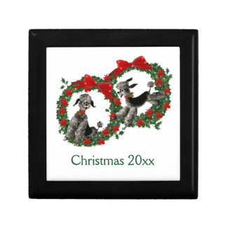 Retro Christmas Poodles in Wreaths Gift Box