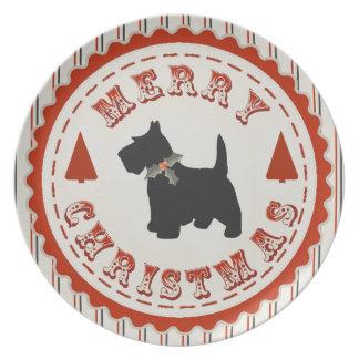 Retro Christmas Scottish Terrier Plate