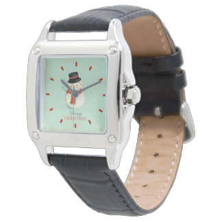 Retro Christmas Women's Black Leather Watch