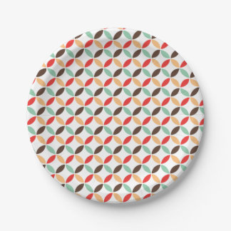 Retro circle pattern 7 inch paper plate