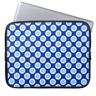 Retro circled dots, cobalt blue and white laptop sleeve