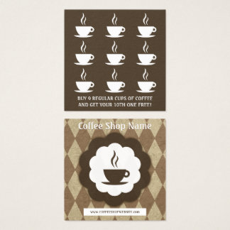 retro coffee diamond loyalty punch square business card