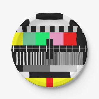 Retro color tv test screen 7 inch paper plate