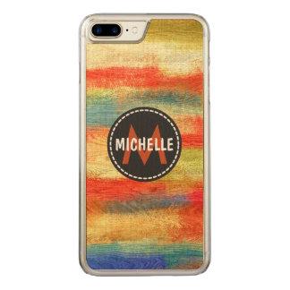 Retro Color Wood Grain Texture Monogram #3 Carved iPhone 8 Plus/7 Plus Case