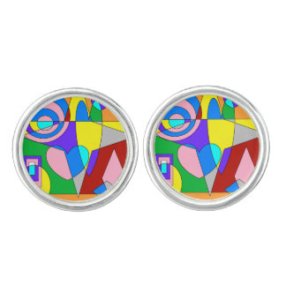 Retro Colorful Abstract Cuff Links
