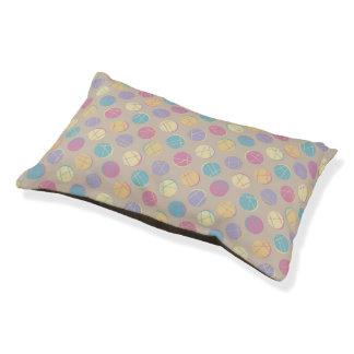Retro Colorful confetti dots chic beige dog pillow