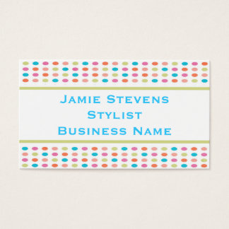 Retro Colorful Polka Dots Business Card Template