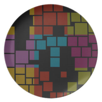 Retro Colorful Stained Glass Abstract Art  - Plate