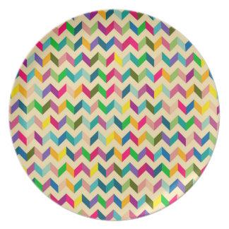 Retro colorful zig zag pattern design dinner plate