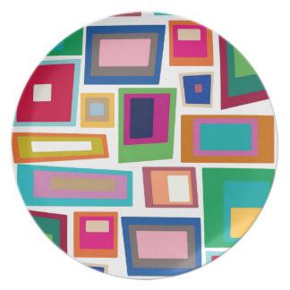 Retro Colour Squares Party Plate