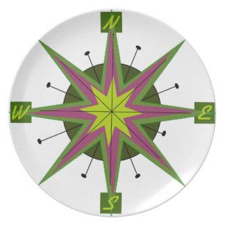Retro Compass Design Dinner Plate