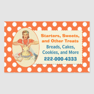 Retro Cook Orange Polka Dot Bakery Sticker