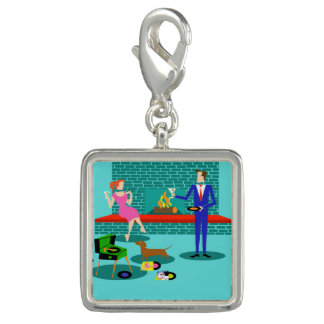 Retro Couple with Dog Charm