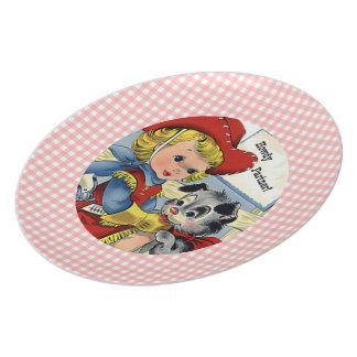 Retro Cowgirl with Puppy Kids Plate