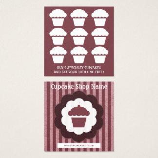 retro cupcake diamond loyalty punch square business card